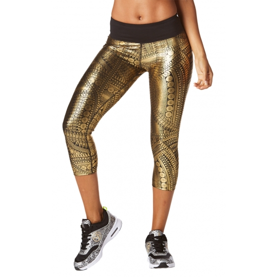 Legings Zumba All Night Metallic Capri Złote